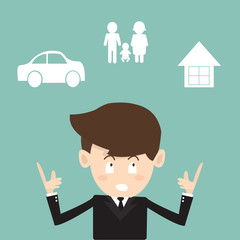 Mortgage and insurance concept - Businessman planning future