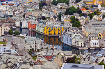 Cityscape of Alesund Norway