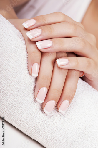 Beautiful woman's nails with french manicure. - 71979913