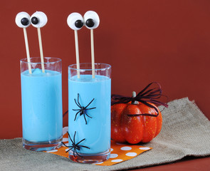 Halloween Blue Smoothie Drink with Marshmallow Eyes