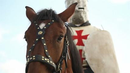 Medieval knights on horseback.