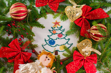 Cross embroidered Christmas tree