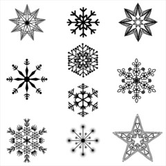 filigree Christmas Star silhouettes