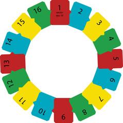 set of color carton frames