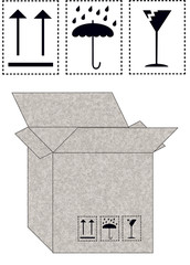 carton paper box with icons