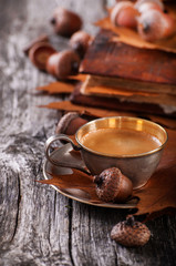 Wooden background with coffee from acorns