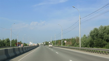 Travel by car on the roads of Novosibirsk.