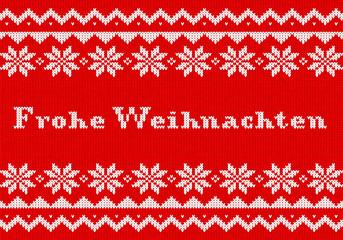 gestrickte Weihnachtskarte in rot weiß