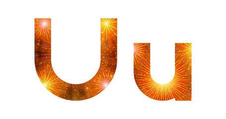 Set of letters, firework, U