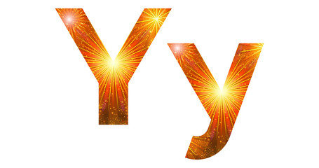 Set of letters, firework, Y