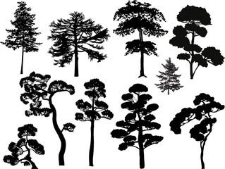 ten black trees set isolated on white