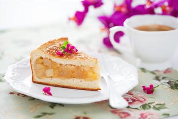 Homemade apple pie slice, selective focus