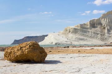 The white rock on the sea coast