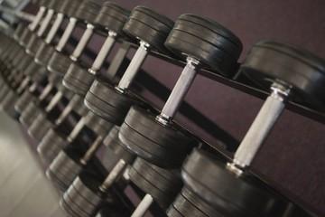 Heavy black dumbbells on rack in weights room