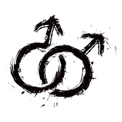 Grunge symbol of Gays couple