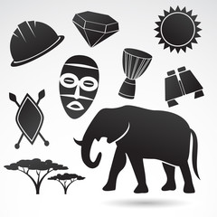 Africa icon set. Vector icons isolated on white background.