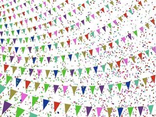 Gekleurde vlaggetjes en confetti