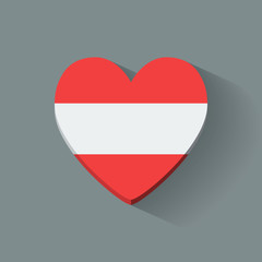 Heart-shaped icon with national flag of Austria. Flat design.