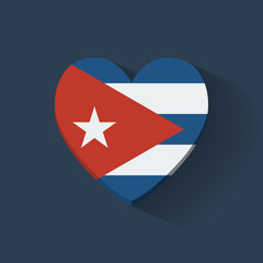 Heart-shaped icon with national flag of Cuba. Flat design.