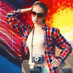 Street fashion portrait stylish pretty woman model in sunglasses