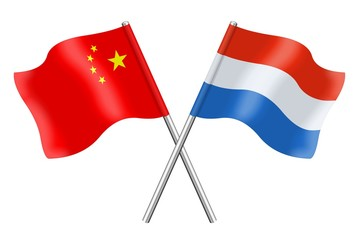Flags: China and Luxembourg