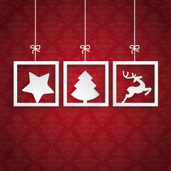 Red Background Ornaments 3 Frames Christmas