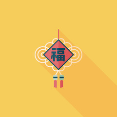 Chinese New Year flat icon with long shadow,eps10, lucky Chinese