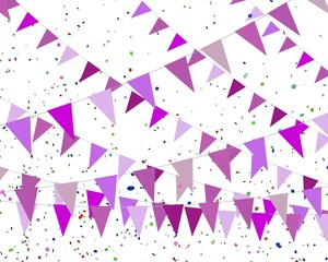 Roze vlaggetjes kriskras
