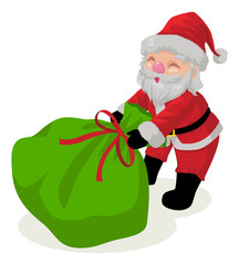 Cartoon illustration of a Santa Claus with his gift sack