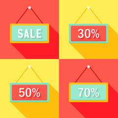 Yellow Red Cyan Sale Signs Set