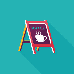 Coffee shop signs flat icon with long shadow,eps10