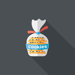 cookies flat icon with long shadow,eps10