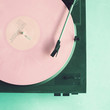 Vintage turntable with pink vinyl record - 71986175