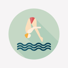Jump Diving flat icon with long shadow,eps10