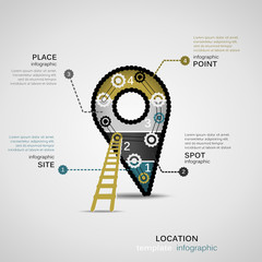 Location concept infographic template with geared sign