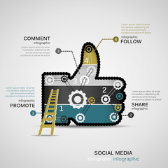 Social Media infographic template with geared like