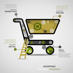 Shopping concept infographic template with geared cart