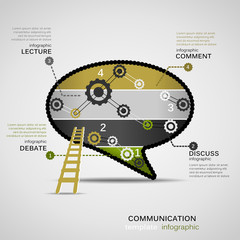 Communication concept infographic template with geared bubble