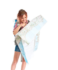 backpacker showing map over white background