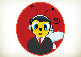 Bee with a headset-Call Center