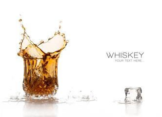 Whiskey Splash Isolated on White Background