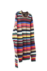 Multicolored striped sweater against white background