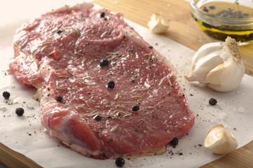 Seasoned Raw Beef Steak