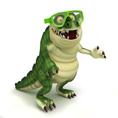 Funny crocodile with goggle