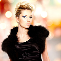 Portrait of the fashion beautiful blond woman
