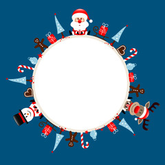 Round Frame Santa, Rudolph & Snowman Symbols Blue
