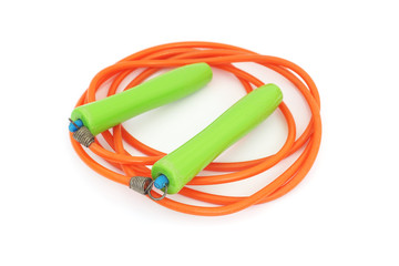 old used skipping rope on white background