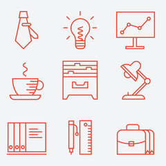 Thin line icons for business and office, modern flat design