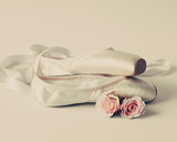 Vintage ballet shoes and roses