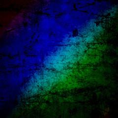 blue green  rasta flag on grunge textured concrete  wall